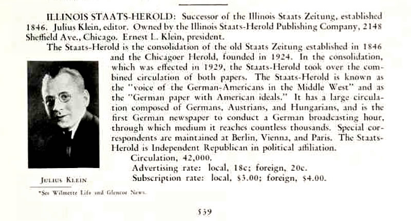 Entry: Illinois Staats-Herold - Illinois Newspaper Directory (1934)