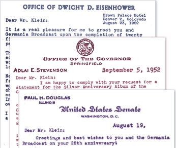 Letters from Eisenhower, Gov. Stevenson and Sen. Douglas